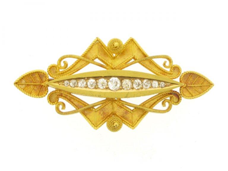 front view Antique diamond brooch, circa 1880.