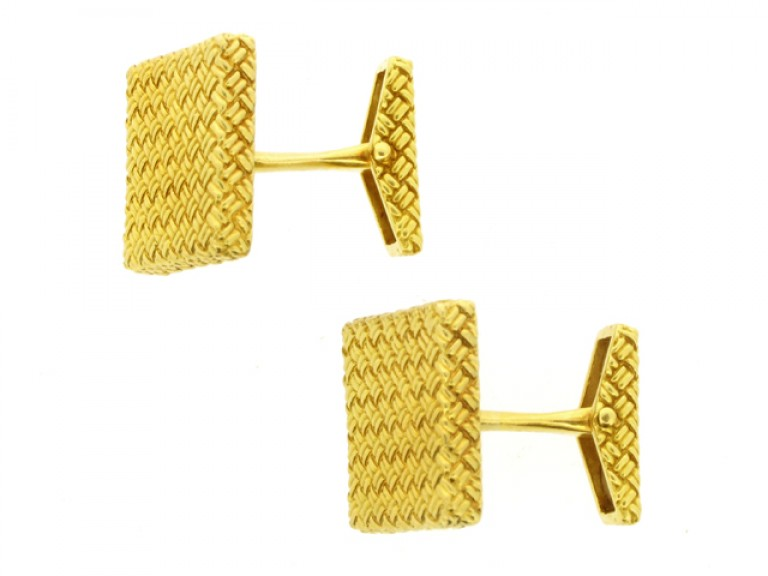 front view 18 carat yellow gold cufflinks, French, circa 1970.