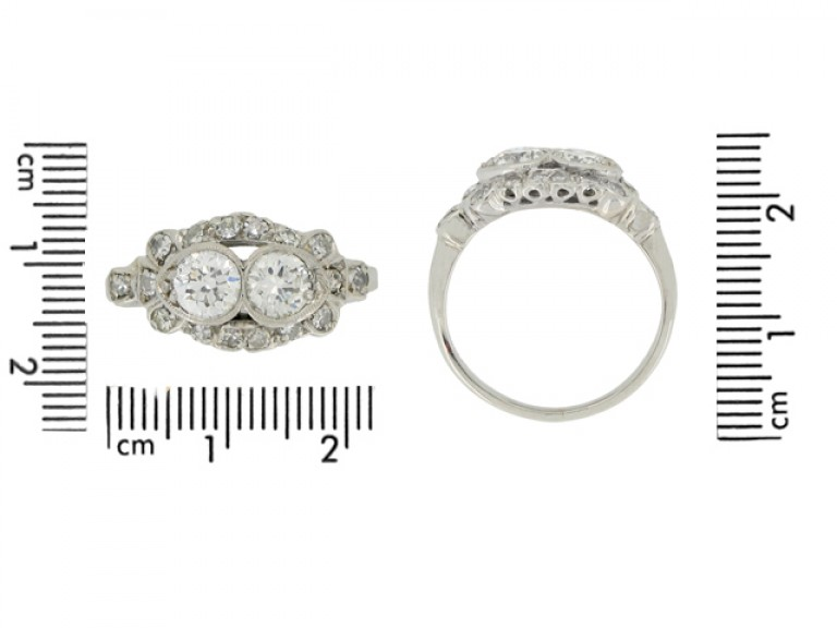 size view Two stone diamond cluster ring