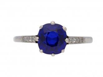 front view   Kashmir Royal blue sapphire and diamond ring, circa 1910. berganza hatton garden
