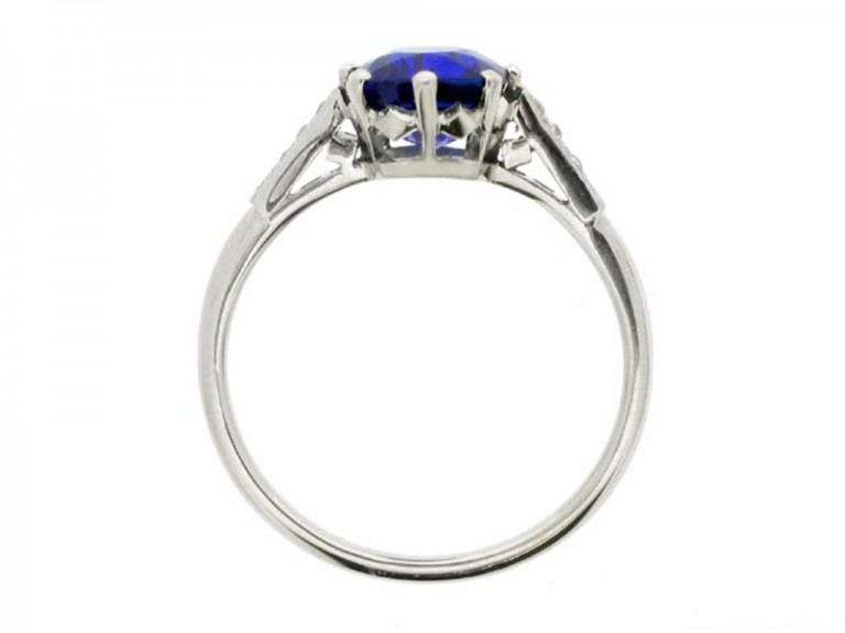 back view   Kashmir Royal blue sapphire and diamond ring, circa 1910. berganza hatton garden