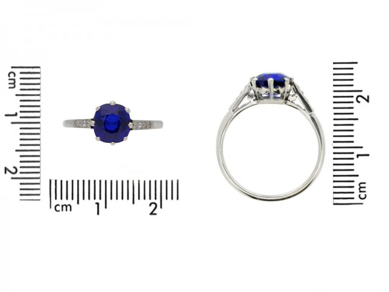 size view   Kashmir Royal blue sapphire and diamond ring, circa 1910. berganza hatton garden