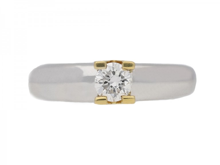 A contemporary diamond solitaire ring.