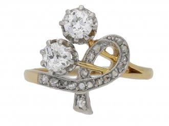 front view Art Nouveau diamond ring hatton garden berganza