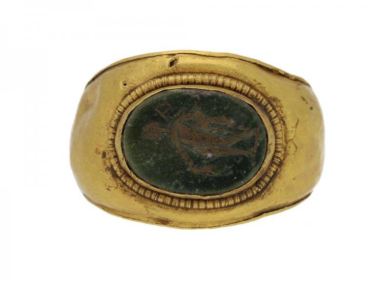 front view Ancient Roman ring mercury berganza hatton garden