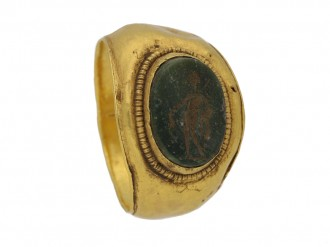 front view Ancient Roman ring mercury berganza hatton garden