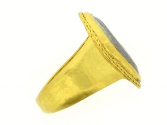 front view Ancient Roman signet ring, 2nd century AD.