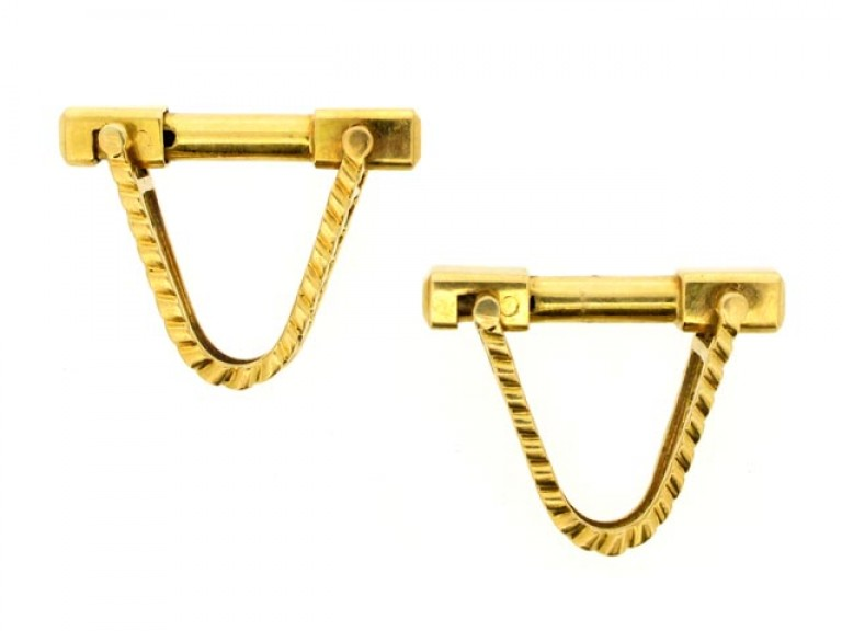 18 carat yellow gold cufflinks, French, circa 1960.