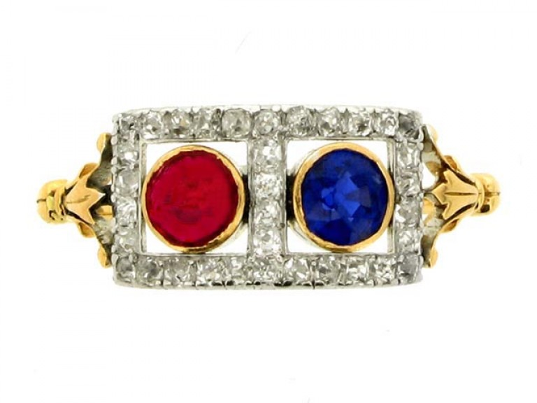 front view Edwardian sapphire, ruby and diamond ring, circa 1905.