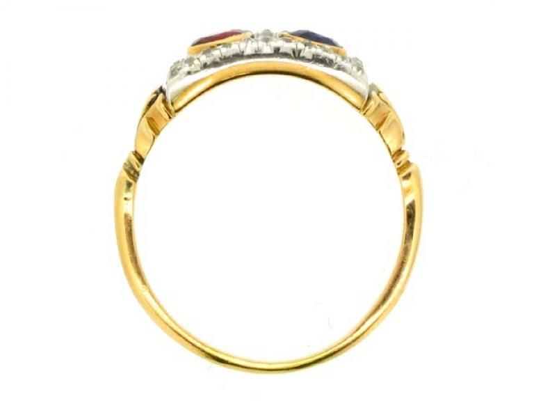 back view Edwardian sapphire, ruby and diamond ring, circa 1905.