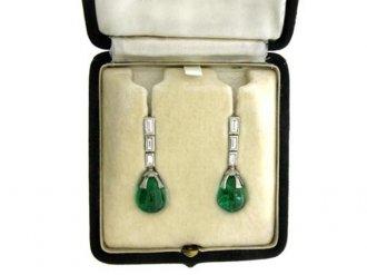 front view antique diamond emerald earrings berganza hatton garden