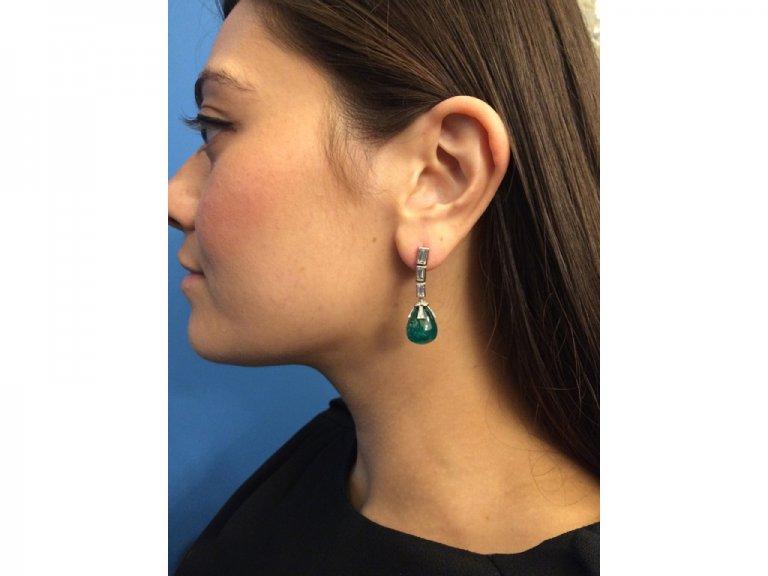 antique diamond emerald earrings berganza hatton garden