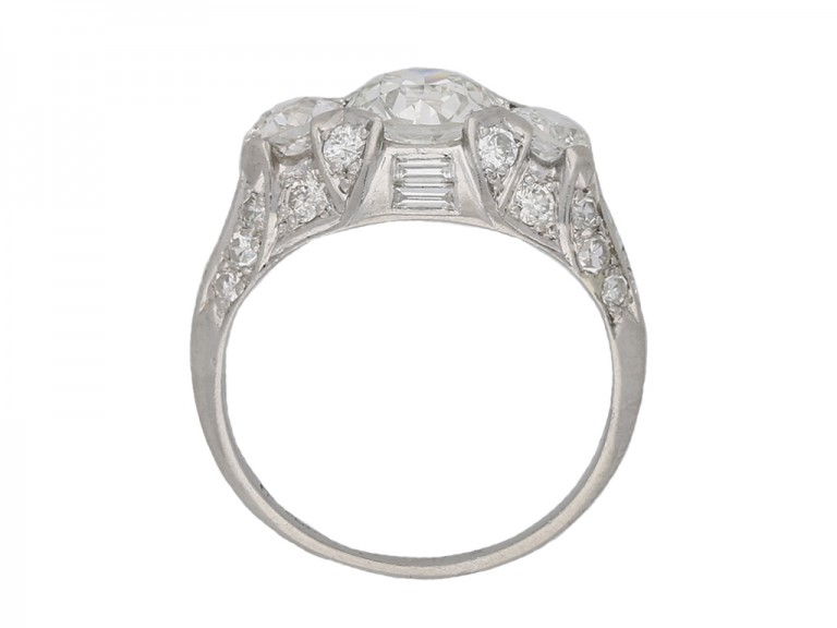 Ornate three stone diamond cluster ring berganza hatton garden