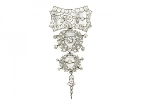front view Child & Child pendant brooch, English
