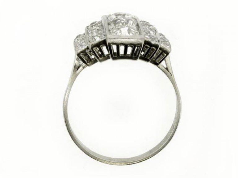 back view Art Deco diamond ring, French, circa 1930.