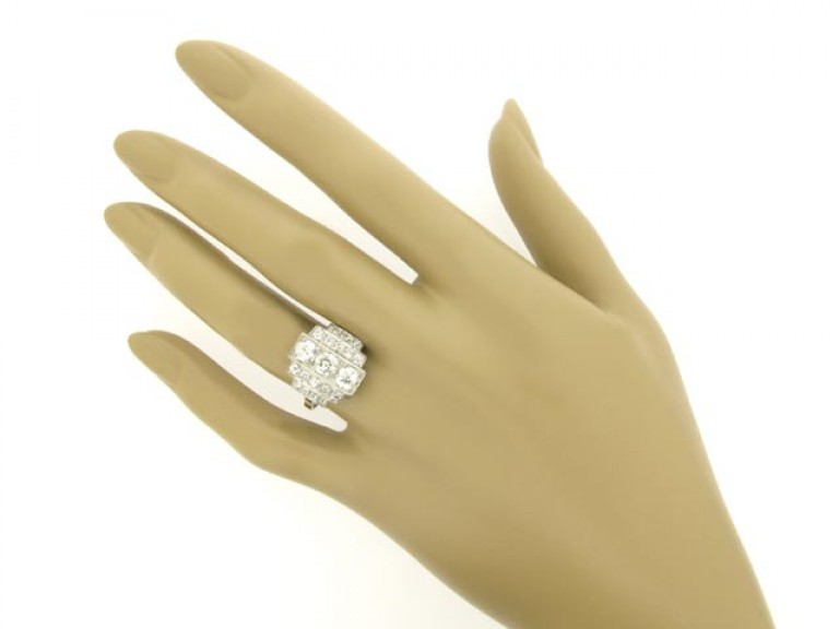 hand view Art Deco diamond ring, French, circa 1930.