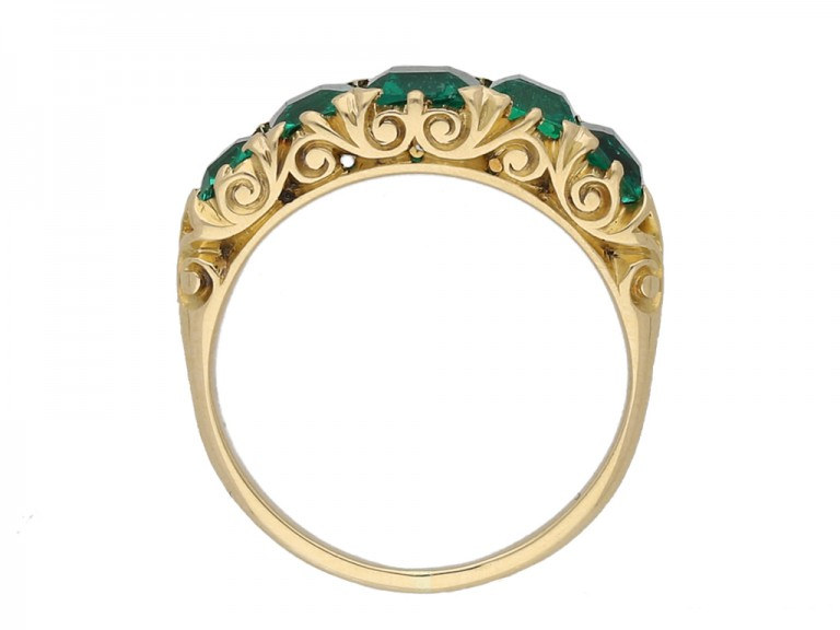 front antique emerald gold carved ring berganza hatton garden