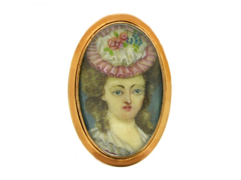front view Early portrait miniature memorial ring, circa 1793.