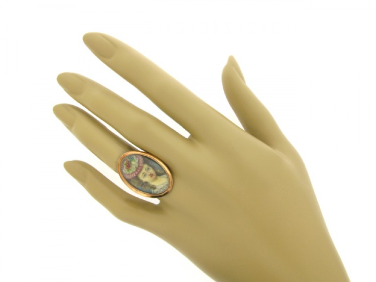 hand view Early portrait miniature memorial ring, circa 1793.