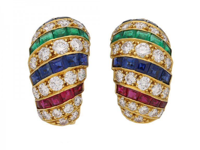 cartier ruby diamond sapphire emerald earrings berganza