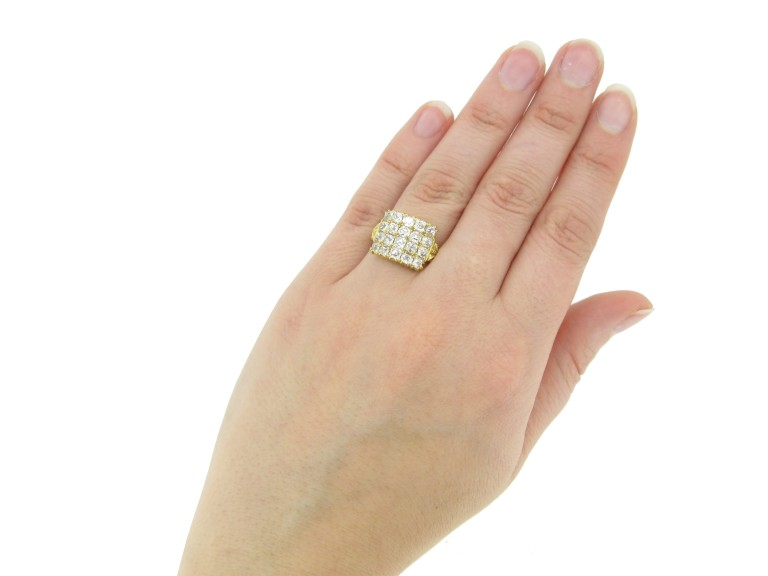 hand view four row diamond ring berganza hatton garden