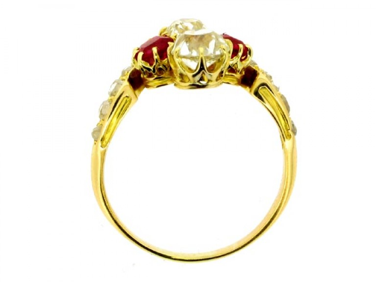 back view Art Nouveau ruby and diamond ring, circa 1895.