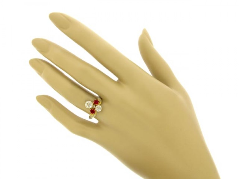 hand view Art Nouveau ruby and diamond ring, circa 1895.