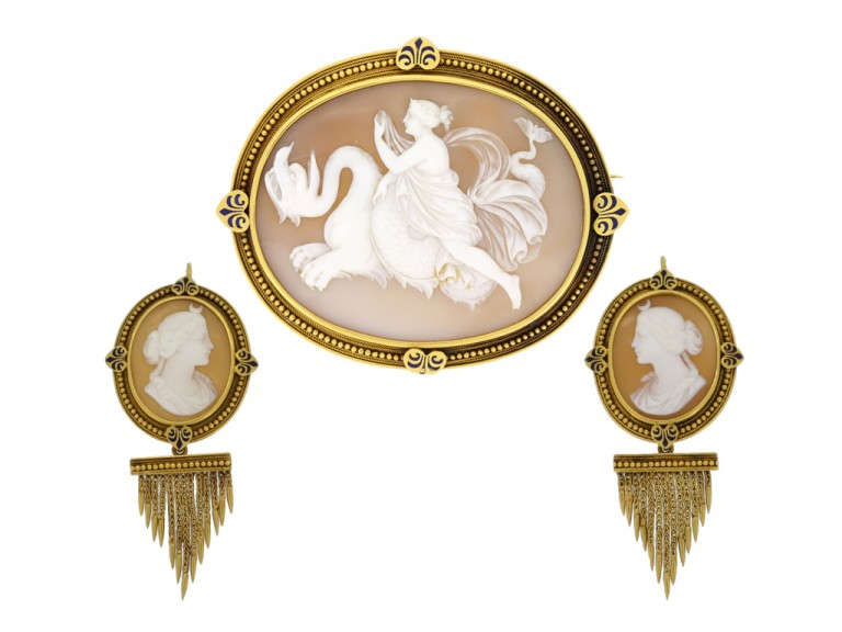 full view John Brogden shell cameo brooch and earrings, English, circa 1870.