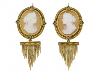 full view John Brogden shell cameo brooch and earrings, English, circa 1870.
