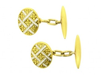 front view Antique enamel and gold cufflinks, French, circa 1880.