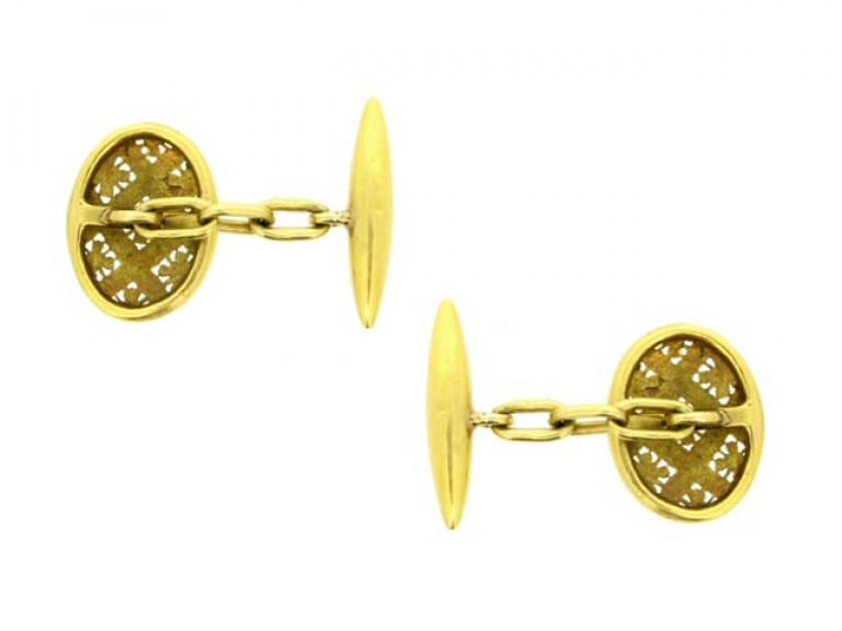 back view Antique enamel and gold cufflinks, French, circa 1880.