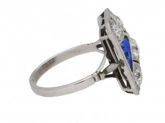 front view Art deco synthetic sapphire and diamond ring, circa 1930.