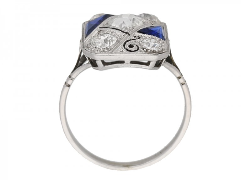 back view Art deco synthetic sapphire and diamond ring, circa 1930.