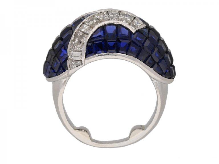 front vintage diamond sapphire cocktail ring hatton garden berganza
