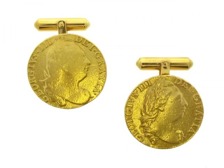 front view Gold coin cufflinks, circa 1970.