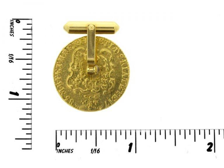 size view Gold coin cufflinks, circa 1970.