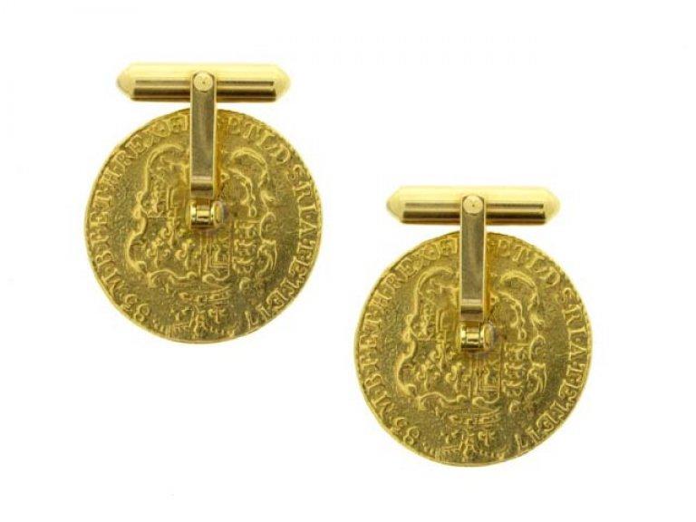 back view Gold coin cufflinks, circa 1970.
