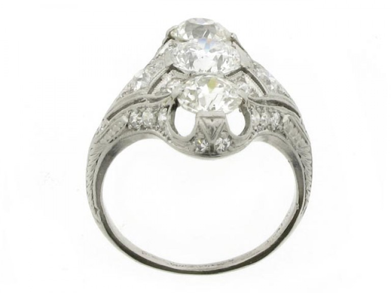 back view Belle Époque three stone diamond cluster ring, circa 1905.