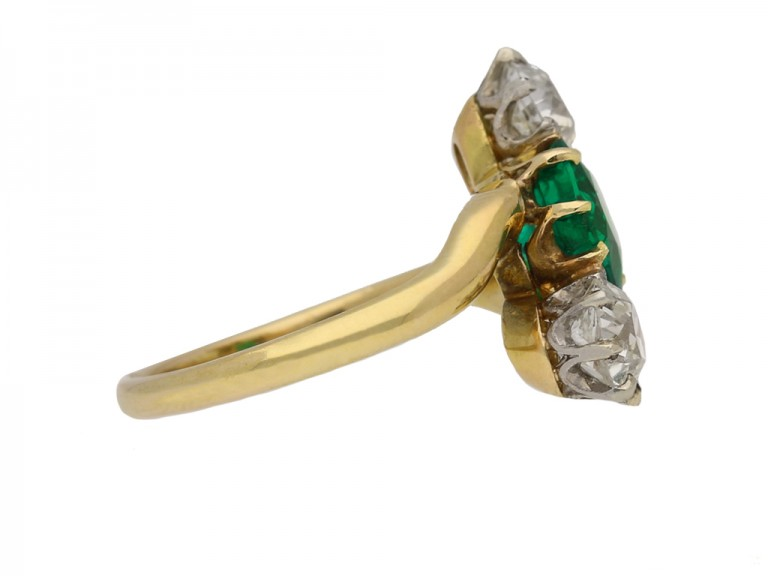 front antique emerald diamond crossover ring hatton garden berganza