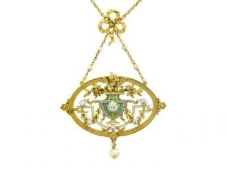 front view Gautrait Art Nouveau pendant necklace/brooch, French, circa 1900.