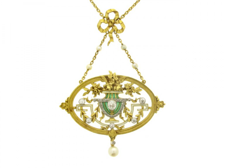front view Gautrait Art Nouveau pendant necklace/brooch, French, circa 1900.