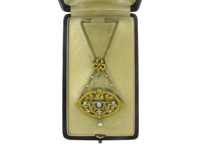 boxed view Gautrait Art Nouveau pendant necklace/brooch, French, circa 1900.