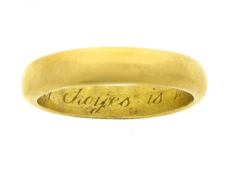 Gold posy ring, 'My choyes is made, I am content', 17th century.