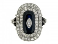 front view Sapphire and diamond coronet cluster ring, French, circa 1915.