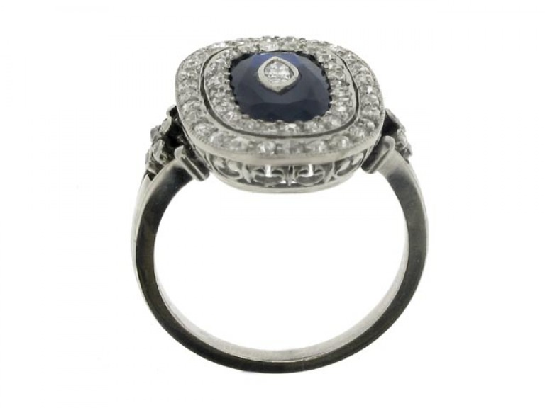 back view Sapphire and diamond coronet cluster ring, French, circa 1915.