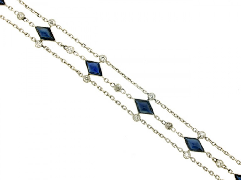 front view Sapphire and diamond bracelet, circa 1920.