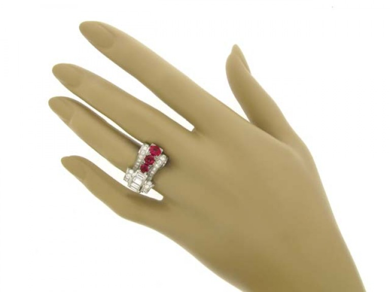 hand view Ruby and diamond cocktail ring, circa 1950.