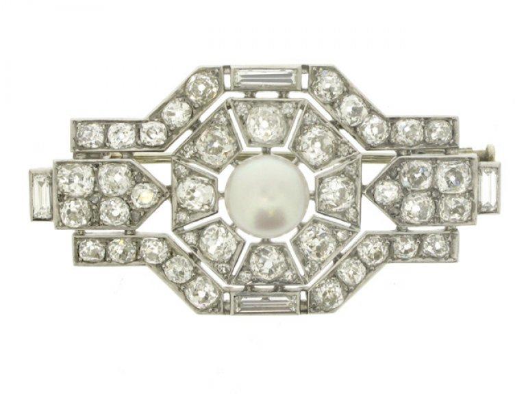 front view Boucheron Paris pearl and diamond brooch,