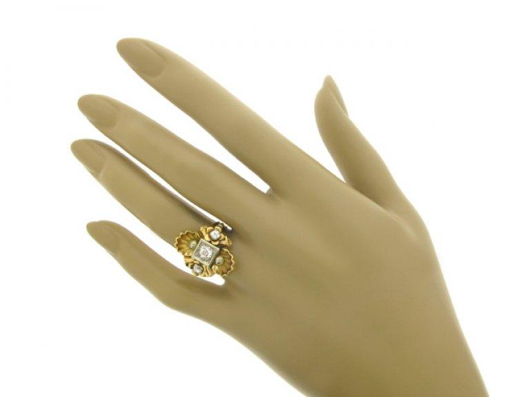 hand view Diamond set dress ring, circa 1940.