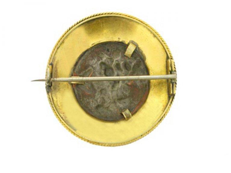 Victorian Shakudo circular gold brooch berganza hatton garden